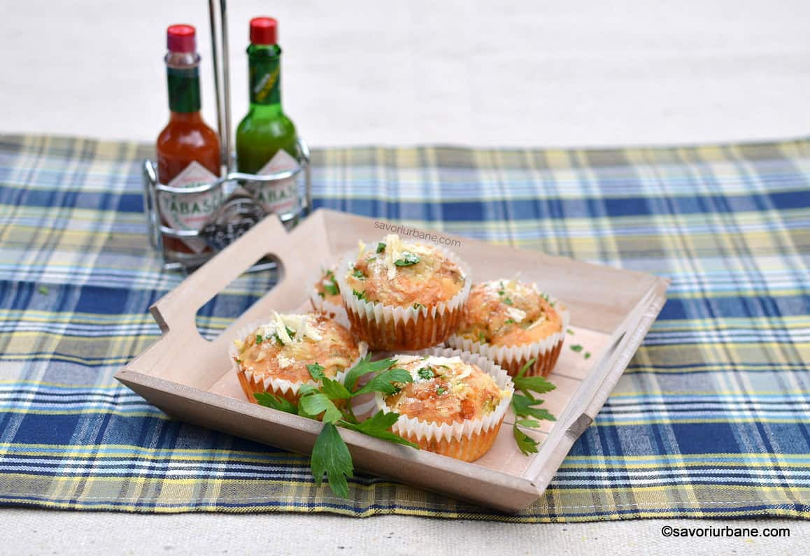 zucchini muffins with cheddar parmesan Tabasco