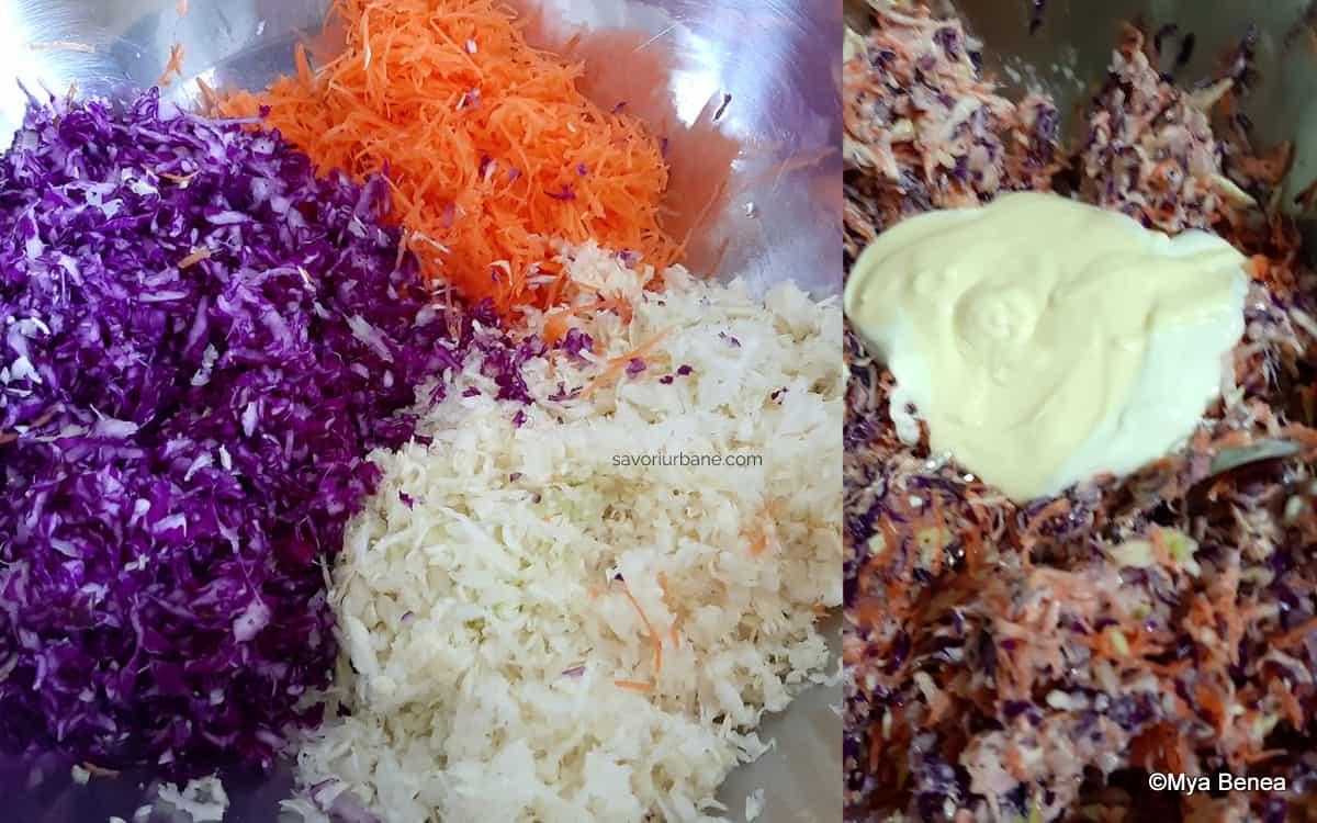 preparare salata de varzacoleslaw pentru salata in straturi