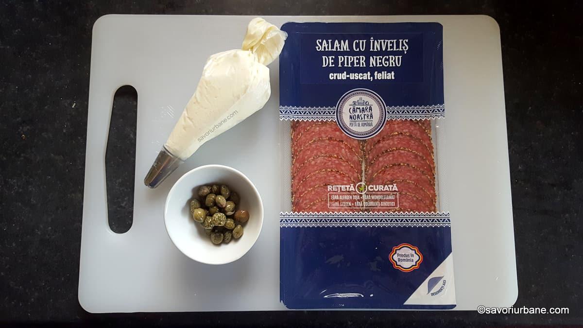 ingrediente clopotei din salam umpluti cu crema de branza sau minic cornete
