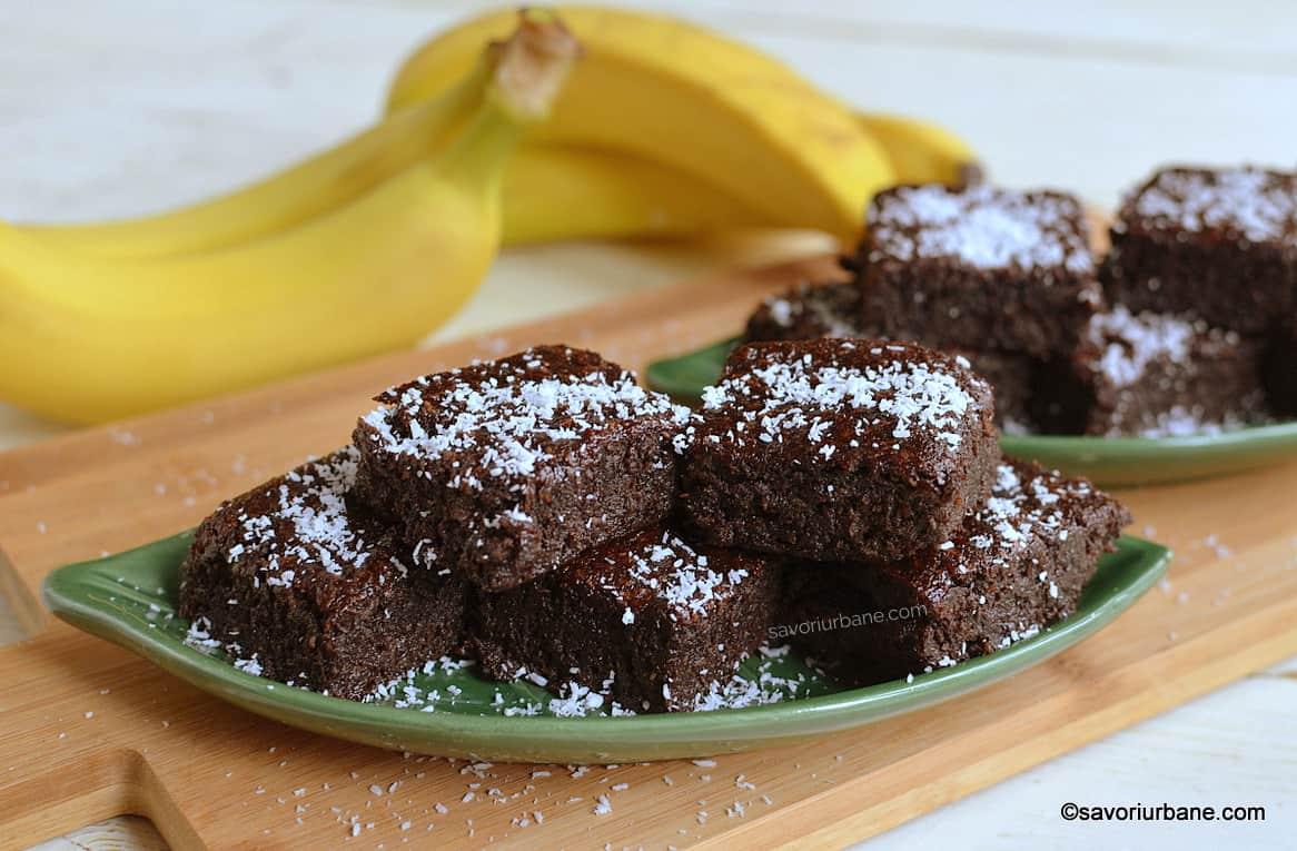 Negresă de post cu banane, fără făină (gluten) - rețeta de brownies vegane savori urbane