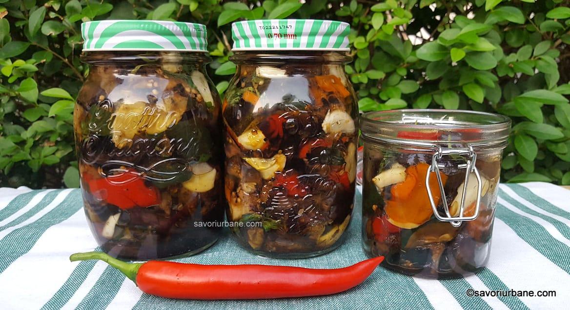 preparare reteta vinete in ulei cu dovlecei usturoi ardei iute busuioc pentru iarna